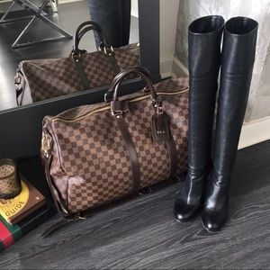 L'Autre Chose Over the Knee Black Leather Boots